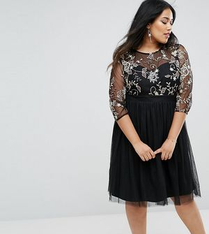 Little Mistress Plus Skater Dress With Embroidered Bodice - Black