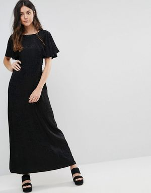 Liquorish Animal Jacquard Frill Sleeve Maxi Dress - Black
