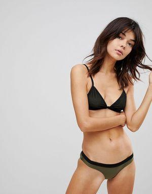 Brave Soul Mesh Insert Bikini Set With Contrast Banding - Green