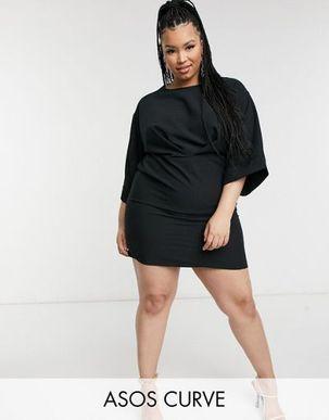 ASOS DESIGN Curve kimono sleeve mini dress in black