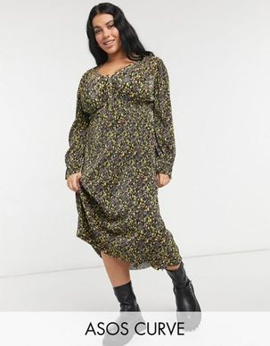 ASOS DESIGN Curve midi plisse v neck long sleeve dress in black and yellow ditsy floral-Purple