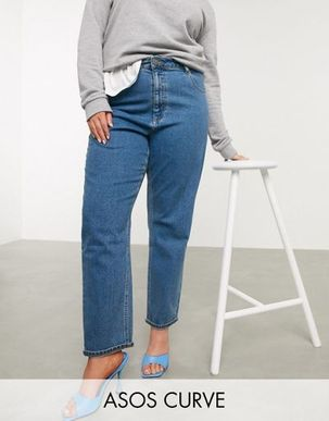 ASOS DESIGN Curve recycled high rise farleigh 'slim' mom jeans in dark wash-Blue