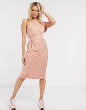 ASOS DESIGN fallen shoulder one sleeve midi dress in blush-Beige