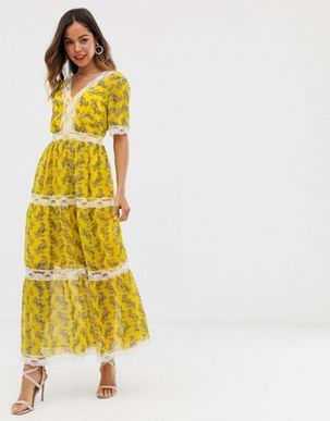 ASOS DESIGN lace insert tiered maxi dress in paisley print-Multi