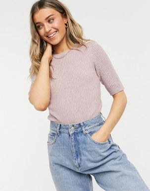 JDY Pernille short sleeve knitted t shirt in mauve-Pink