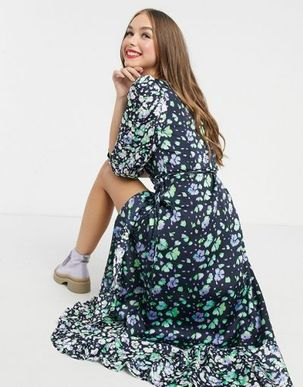 Liquorish maxi wrap dress in navy floral print