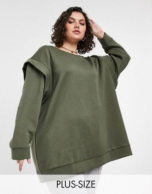 Only Curve long line sweat top with shoulder detail in khaki-Green