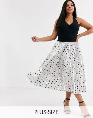 Outrageous Fortune Plus pleated midi skirt in metallic polka print-Multi