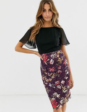 Paper Dolls angel sleeve dress with lace skirt-Multi