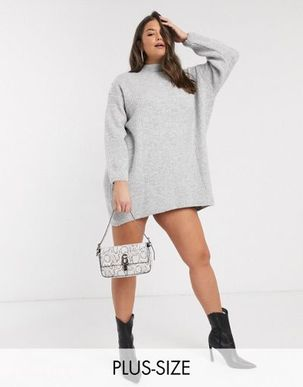 River Island Plus knitted dress with shoulder button detail in grey