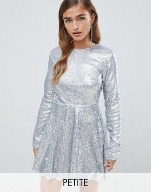TFNC Petite long sleeve fit and flare sequin mini dress in silver irridescent
