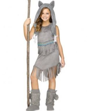 NATIVE AMERICAN -  WOLF DANCER COSTUME (CHILD - MEDIUM 8-10)
