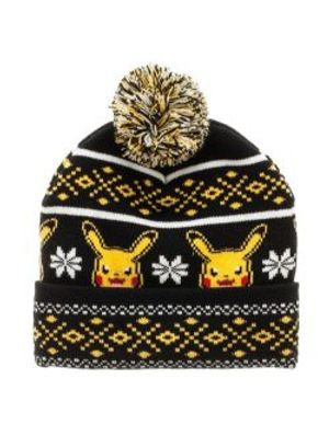 POKEMON -  PIKACHU POM BEANIE (ALDULTE) - BLACK/YELLOW/WHITE