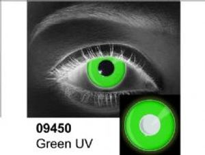 THEATRICAL CONTACT LENSES -  GREEN UV - GREEN (90 DAYS) 09.450