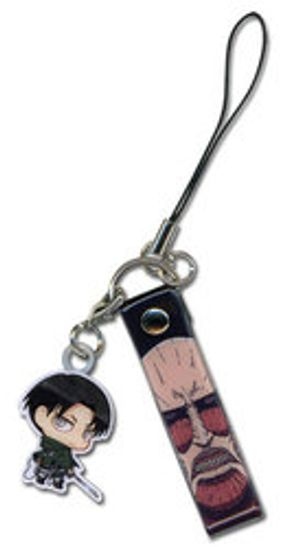 ATTACK ON TITAN -  CHIBI LEVI & COLOSSAL TITAN CELLPHONE STRAP