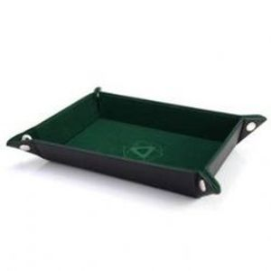 PORTABLE DICE TRAY -  FOLDING RECTANGLE TRAY - GREEN VELVET -  DIE HARD