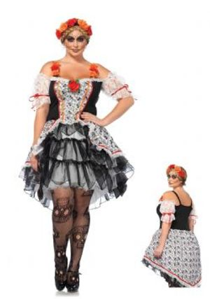DAY OF THE DEAD -  SUGAR SKULL SENORITA COSTUME (ADULT - 3X/4X)