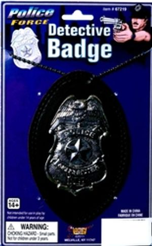COPS AND ROBBERS -  DETECTIVE BADGE WITH CHAIN - SILVER
