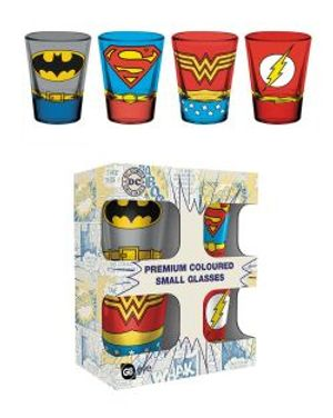 DC COMICS -  PREMIUM COLOURED SMALL GLASSES (SUPERMAN, BATMAN, WONDER WOMAN, FLASH)