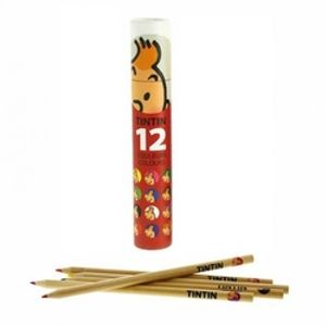TINTIN -  12 COLOURS PENCILS SET (RED BOX)