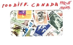 CANADA -  100 ASSORTED STAMPS - CANADA - PRE-1970