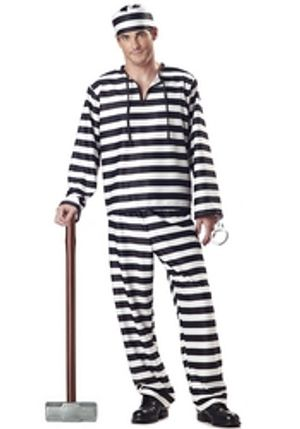 COPS AND ROBBERS -  JAILBIRD COSTUME (ADULT)