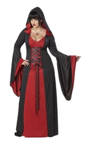VAMPIRE -  DELUXE HOODED RED ROBE (ADULT - PLUS SIZE)