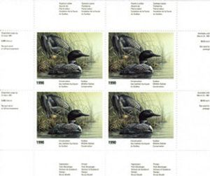 QUEBEC WILDLIFE HABITAT CONSERVATION -  1990 COMMON LOONS - BLOCK OF 4 03