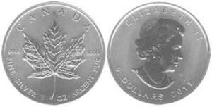 MAPLE LEAVES -  MAPLE LEAF - ONE OUNCE FINE SILVER COIN -  2011 CANADIAN COINS