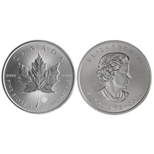 MAPLE LEAVES -  ONE OUNCE FINE SILVER COIN -  2015 CANADIAN COINS