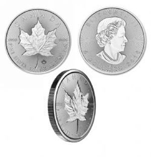 MAPLE LEAVES -  ONE OUNCE FINE SILVER COIN - INCUSE DESIGN -  2018 CANADIAN COINS