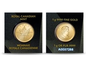 MAPLE LEAVES -  1 GRAM OF PURE GOLD -  CANADIAN COINS