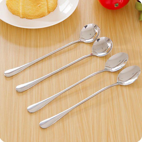 Honana Stainless Steel Long Handle Coffee Milk Mixing Spoon Scoop Cutlery