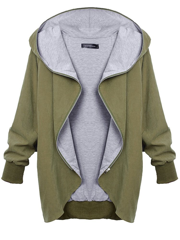 DBF US$54.81 Women Autumn Casual Hooded Large Size Thin Jackets Outerwear Coat