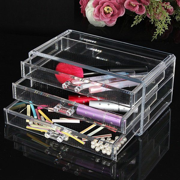 Three Layer Acrylic Cosmetic Organizer Container Makeup Storage