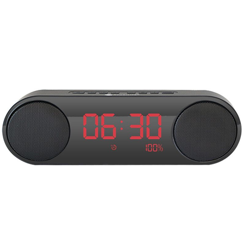 FYS US$34.76 LED Display Alarm Clock Dual Driver Unit FM Radio Aux TF Card Heavy Bass bluetooth Speaker With Mic