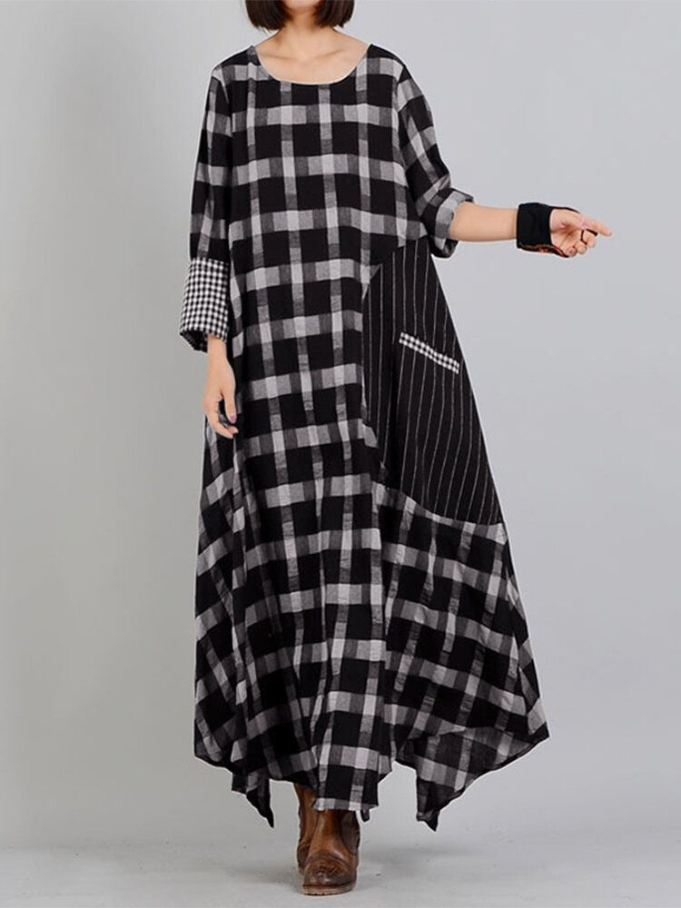 Plaid Stitching O neck Long Sleeve Casual Maxi Dress With Pocket