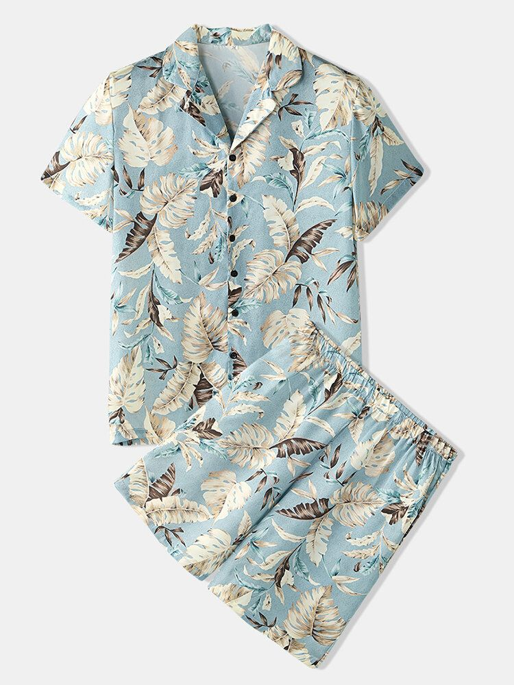 Mens Tropical Leaves Print Pajama Set Two Pieces Home Casual Sleepwear