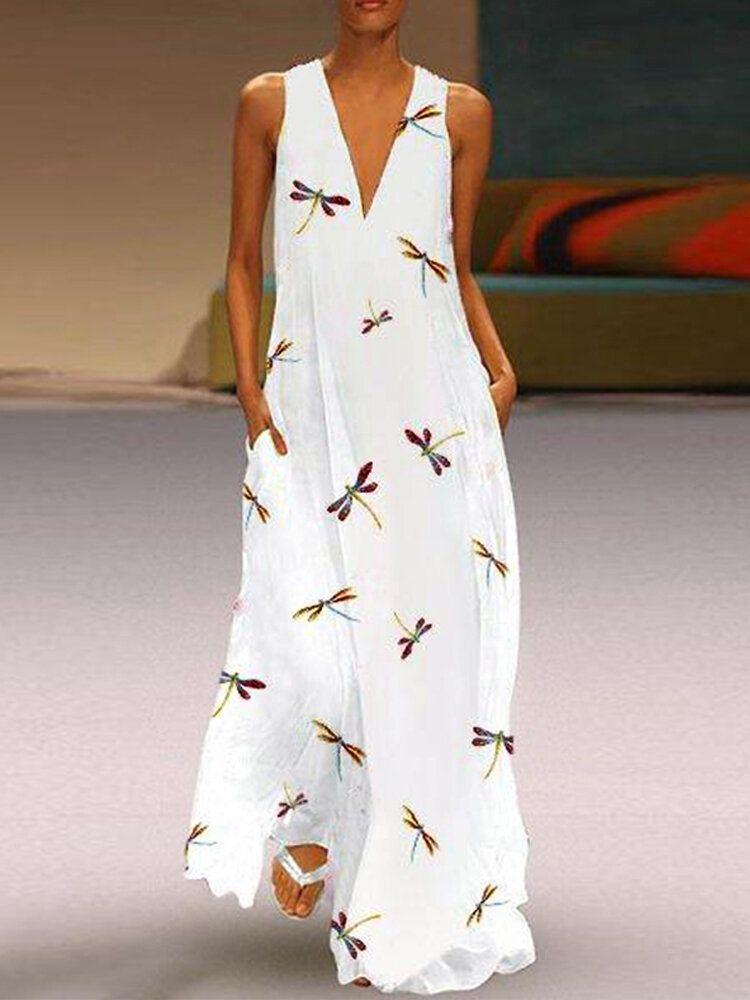 Women Sleeveless V neck Floral Print Maxi Dress