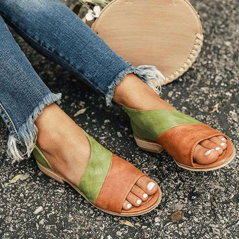 Large Size Vintage Splicing Color Slide Flat Sandals