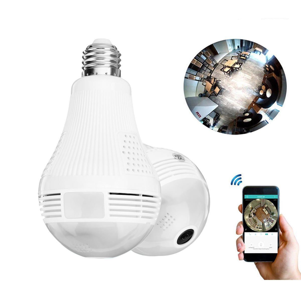 2 in 1 Panoramic 1080P 200W Wifi Camera Light Bulb Cameara Night Vision Two Way Audio