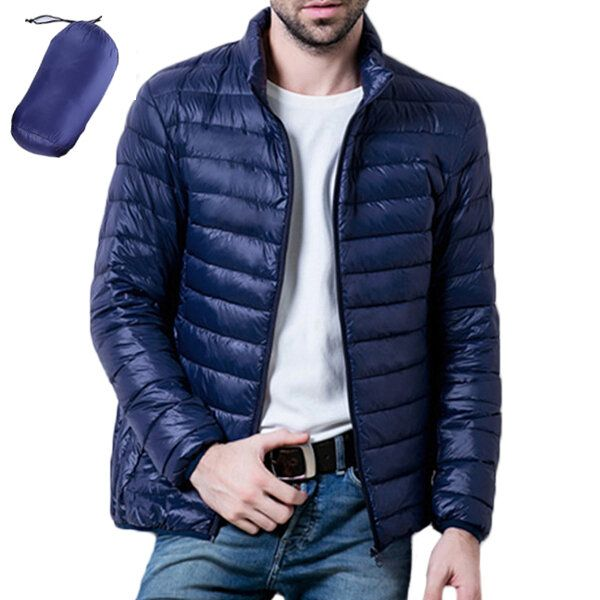 Mens Casual Stand Collar Portable Light Down Jacket