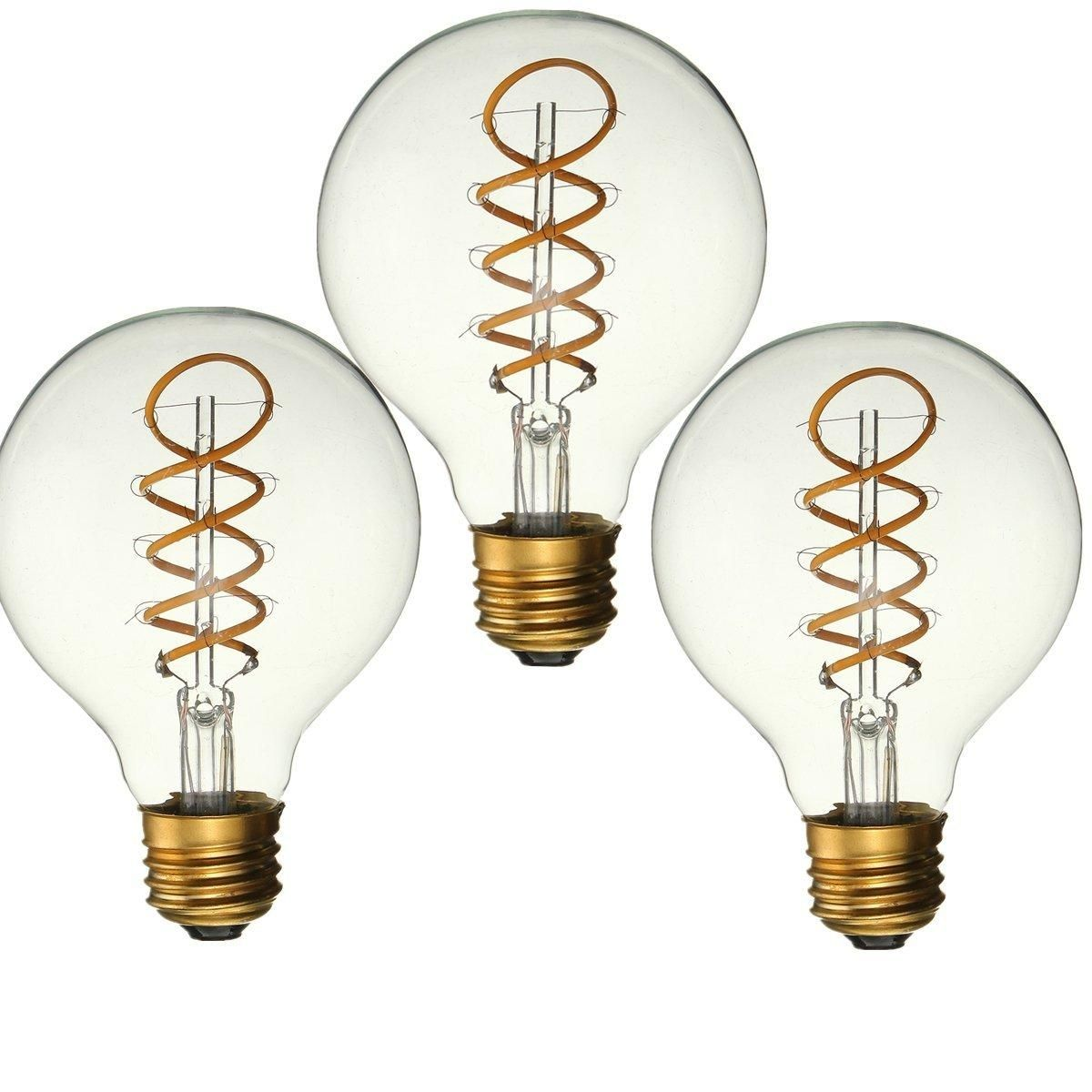 Elfeland 3PCS Dimmable E27 B22 G80 Vintage Amber Glass Shell 3W LED COB Light Bulb for Indoor Home