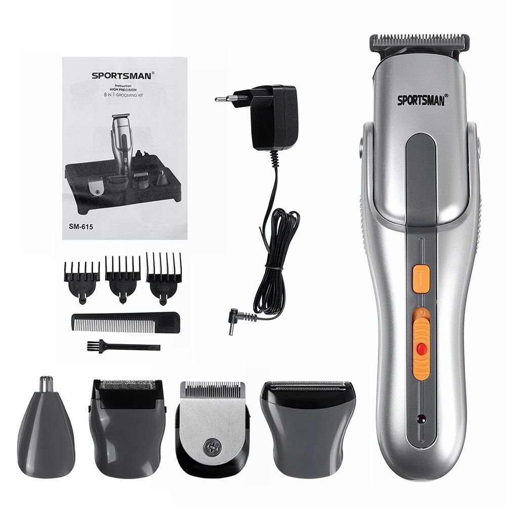 SPORTMAN SM 615 5 In 1 Electric Rechargeable Hair Clipper Multifunctional Hair Clipper Epilator Shaver Nose Trimming for Adult Kids Hair Cutting