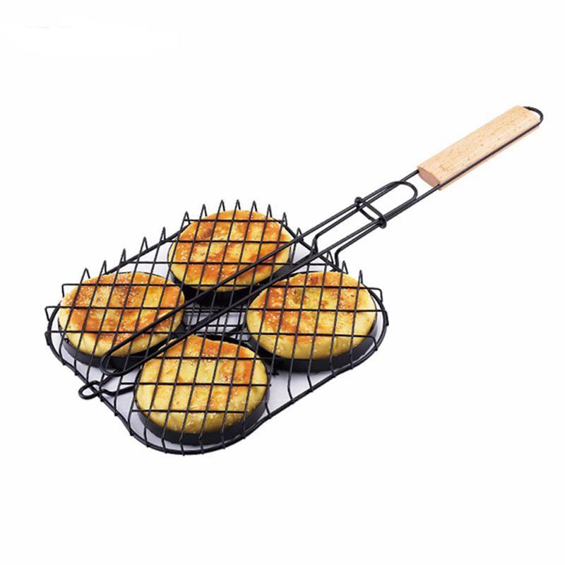 QPB US$26.29 IPRee® Portable Barbecue Grill Outdoor Non-stick Fish Hamburger BBQ Tong Barbecue Accessories
