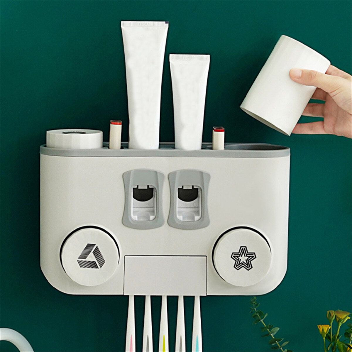 Perforation free Wall mounted Multifunctional Plastic Four cup Toothbrush Holder Set