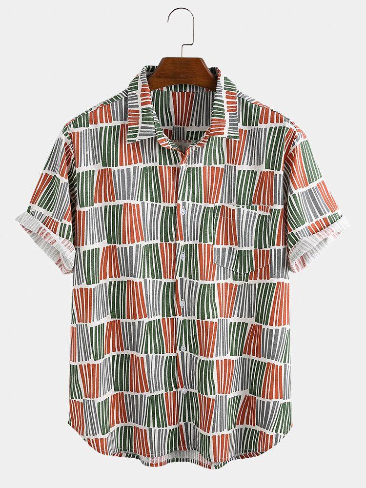 Mens Ethnic Style Stripe Plaid Design Breathable Shirts