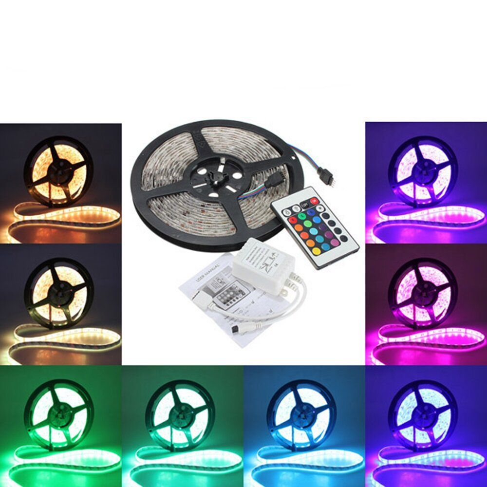 3X 5M 5050 RGB Waterproof 300 LED Strip Light 24 Key Controller DC12V