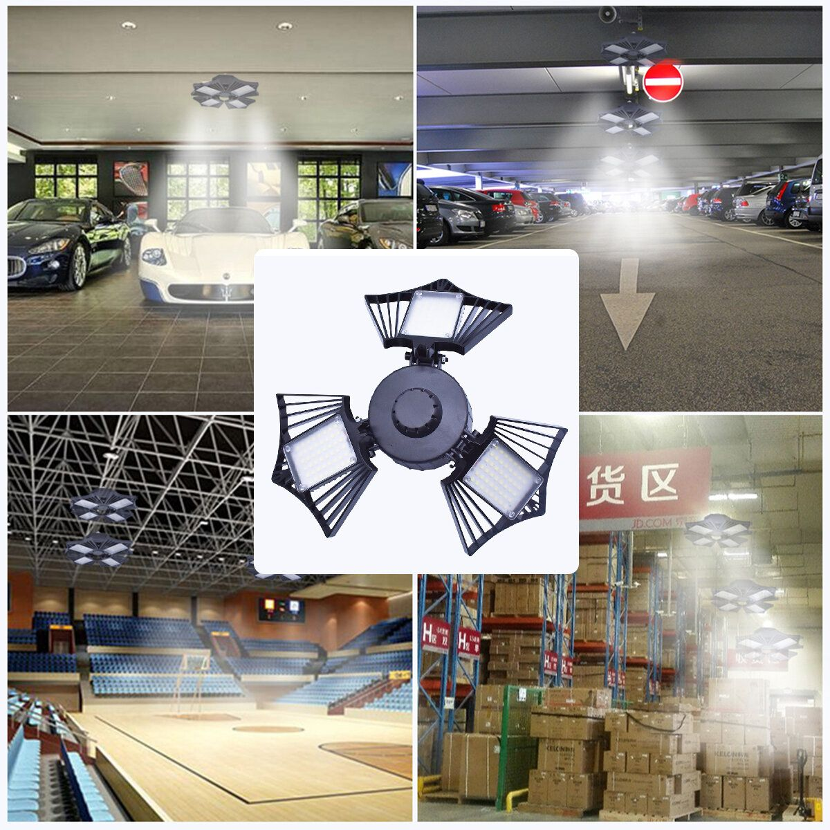 60/80/100W LED Garage Lights Deformable Ceiling Fixture Workshop Shop Three Leaf