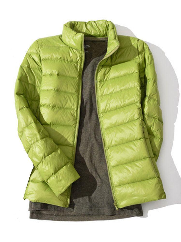 Pure Color Zipper Down Coats
